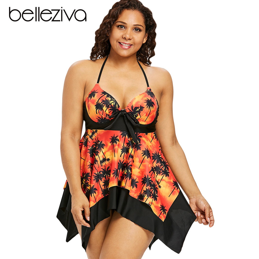 a973aef65f1f0 Detail Feedback Questions about Belleziva New Women Plus Size Palm Print Tankini  Set Push Up Halter 2pcs Swimsuit Set Large Size Female Bathing Suit ...
