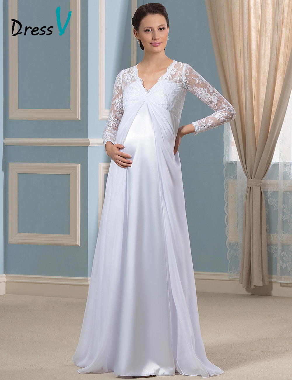 2016 New Feshion White Maternity Wedding Dresses For Pregnant Deep V neck Lace on body Empire A