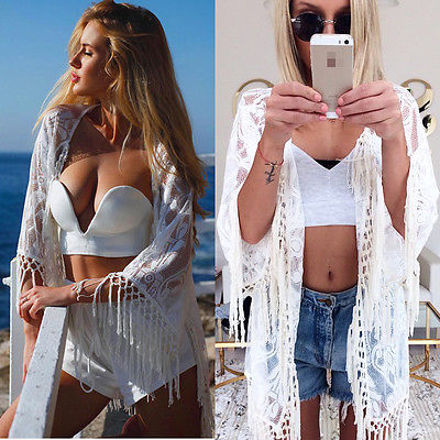 Forceful Women Lace Floral Bathing Suit Tassel Bikini Cover Up Cape Beach Dress Kaftan Uk Products Hot Sale Blouses & Shirts