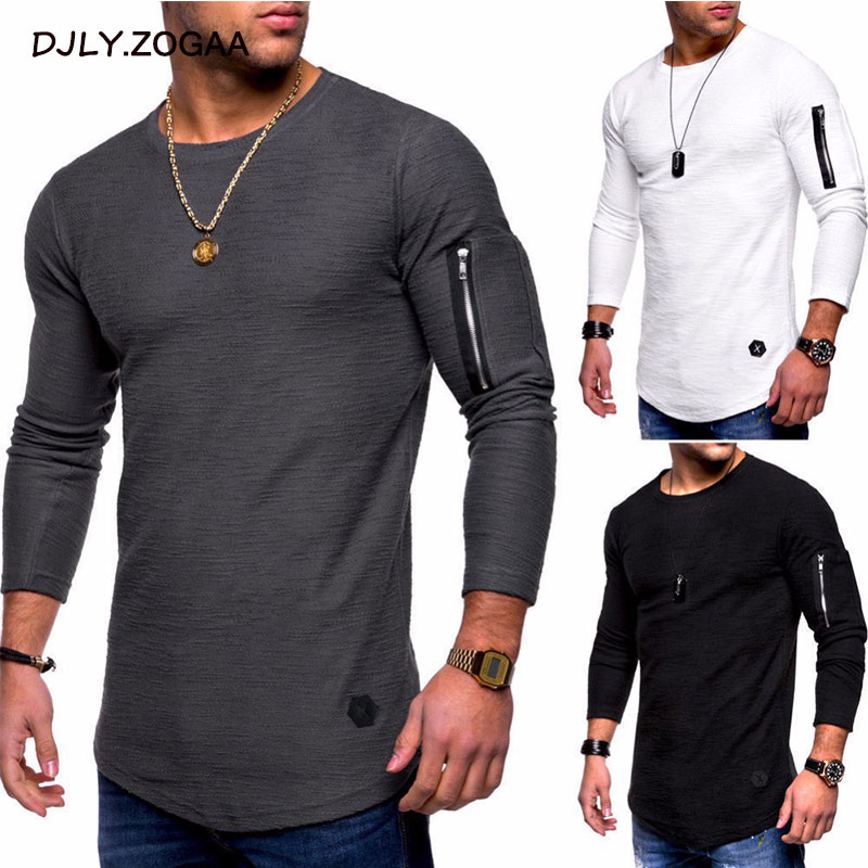 Zogaa New Fashion Casual Slim Elastic Soft Solid Long Sleeve Round Neck Men Zipper Patchworkt Shirts Hip Hop Male Fit Tops Tee
