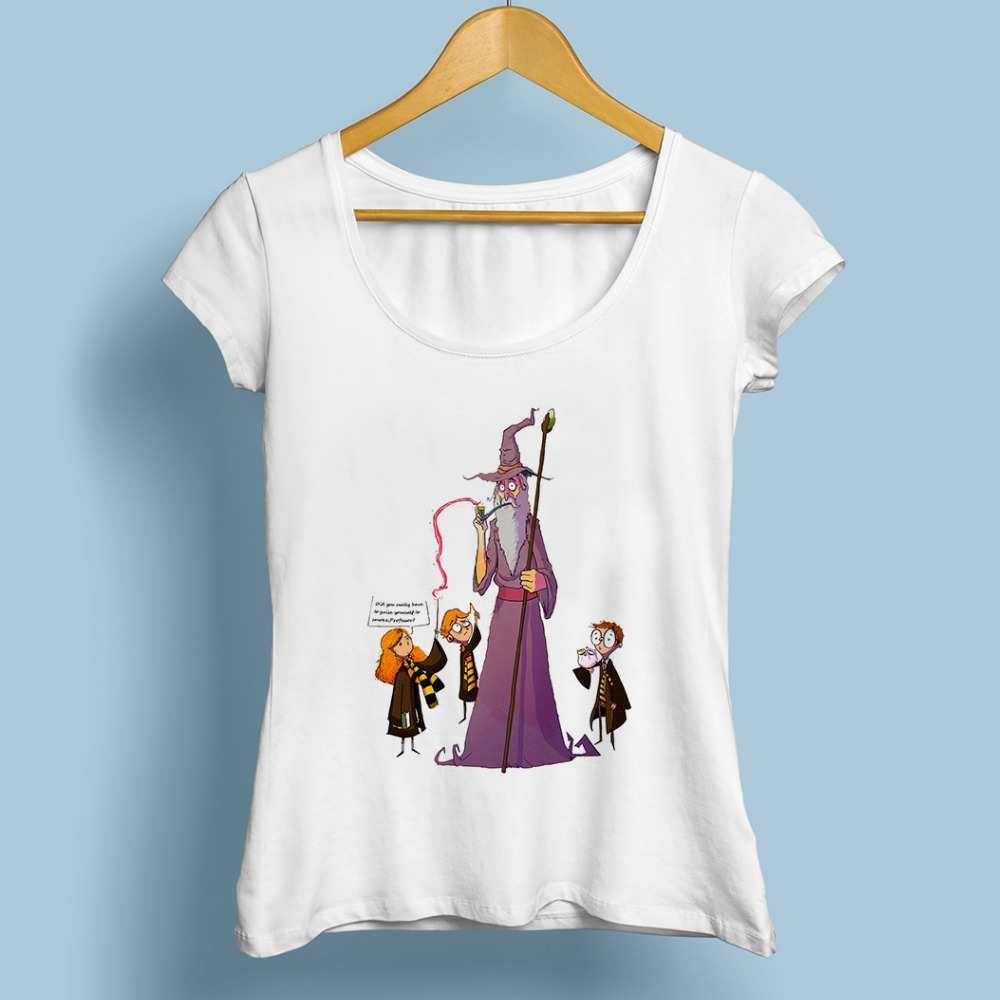anime Hogwarts School Gandalf Dumbledore Harry funny T shirt femme jollypeach new white casual tshirt women cartoon tee shirt