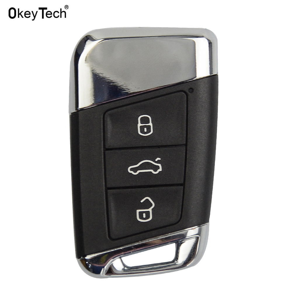 OkeyTech Car Styling For Volkswagen Magotan B8 Smart Auto Control Remote Car Key Shell Replacement Car Case 3 Buttons Key Cover