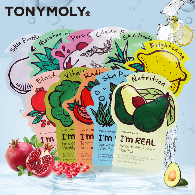Original TONY MOLY MASKS 10 pcs I'm Real Mask 10 kinds-in Treatments & Masks from Beauty & Health