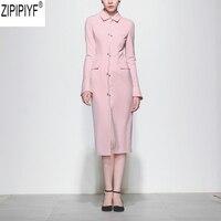 High Quality Newest Fashion Runway Women Dress Elegant Turn Down Collar Long Sleeve Retro Solid Designer Knee Length Dress C1785