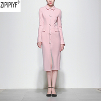 High Quality Newest Fashion Runway Women Dress Elegant Turn Down Collar Long Sleeve Retro Solid Designer Knee Length Dress C1785
