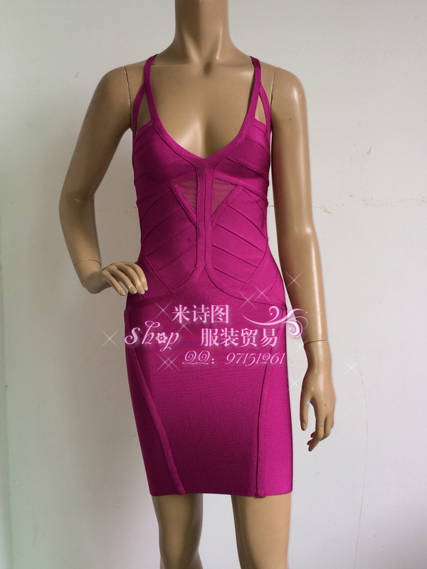 New Purple Deep V Mesh Sexy nightclub Birthday Reception Bandage Dress