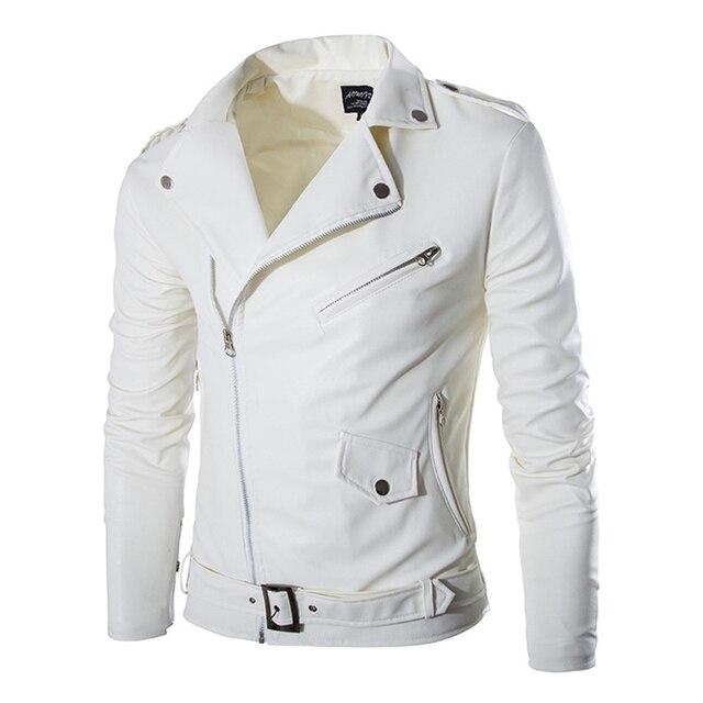 2017 New Mens Slim Diagonal Zipper Coat Leather Motorcycle Jacket Men Off White Leather Jackets Veste Homme 13M0171