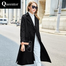 QUEENTOR 2017 Brand Overcoat Autumn Winter Plus Size Double Breasted Elegant Casual Black Long Woolen Coat Women Wholesale