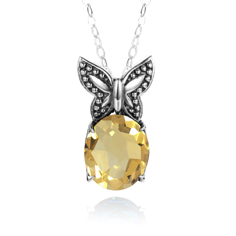 Szjinao 100% Authentic 925 Sterling Silver Pendant Classic Yellow Crystal Vintage Jewelry Handmade Gift Fine Butterfly PendantsSzjinao 100% Authentic 925 Sterling Silver Pendant Classic Yellow Crystal Vintage Jewelry Handmade Gift Fine Butterfly Pendants