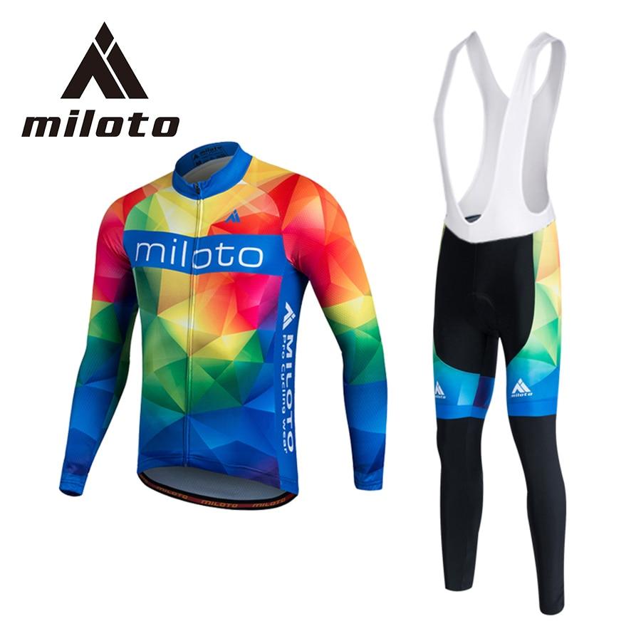 MILOTO Велоспорт Джерси зима с длинным рукавом теплый флис велосипед одежда 3D гель Коврик для Ропа ciclismo для мужчин, женщин xxs есть-5xl большой зеленый Майо