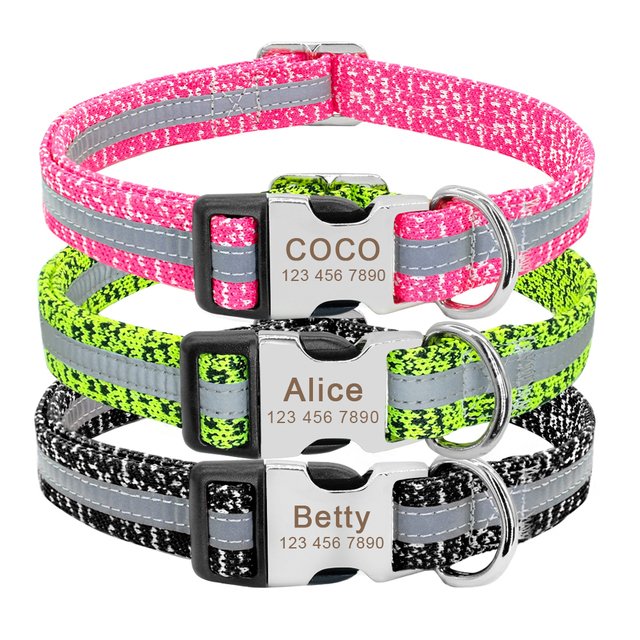 Dog Collar Personalized Reflective Dog Collars Custom Engraved Name Tag Collar Anti-lost Nylon Pet Collars For Medium Large Dogs 2