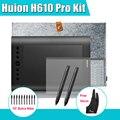 2 plumas H610 Huion Pro arte de gráficos del dibujo tableta Digital Kit + película protectora + pulgadas bolsa interior + Parblo guante 10 Extra plumillas