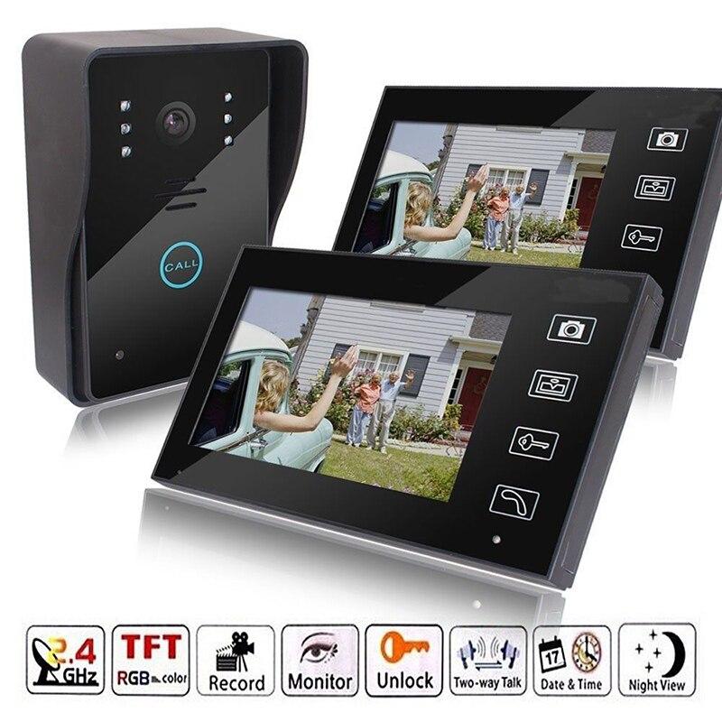 2.4G 7 Sans Fil Vidéo Caméra Touch Key Porte Téléphone Sonnette Interphone Système IR Vision Nocturne Imperméable À L'eau Avec 2 moniteurs
