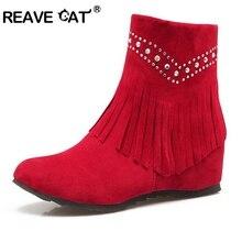 7b2a42a6 REAVE gato zapatos de mujer cuñas tobillo botas de punta redonda borla de  cremallera rebaño otoño invierno cálido mujer botas ca.