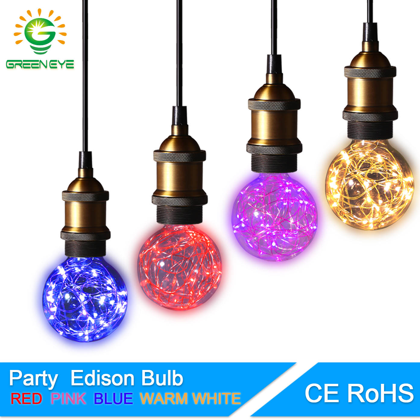 GreenEye Fairy Elf Design LED Bulb Edison G95 E27 220V 5w RGB String Light Filament LED Lamp Home Lighting Retro Colour Vintage greeneye 1 4pcs color led bulb edison 220v e27 filament led lamp light st64 retro green blue red pink warm white ampoule lampara