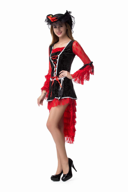 6aa18fb54 ... Caribbean Pirate Costume Women Adult Halloween Costumes Long Sleeve Sexy  Matador Pirate Captain Cosplay Party Dress ...