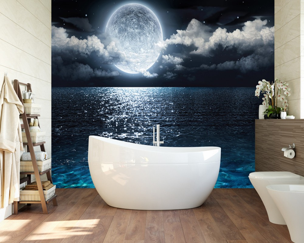 Free Shipping Custom Living Room 3D Photo Wallpapers Star Moon Sea Night Moon Wall Background Bathroom Bedroom Decoration Mural free shipping 3d surf sea water beach shell sea star living room bathroom office decoration floor wallpaper mural