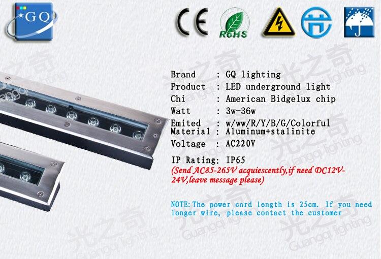 CONDUZIU a luz subterrânea Enterrado luz de iluminação Ou DC12V 24 v