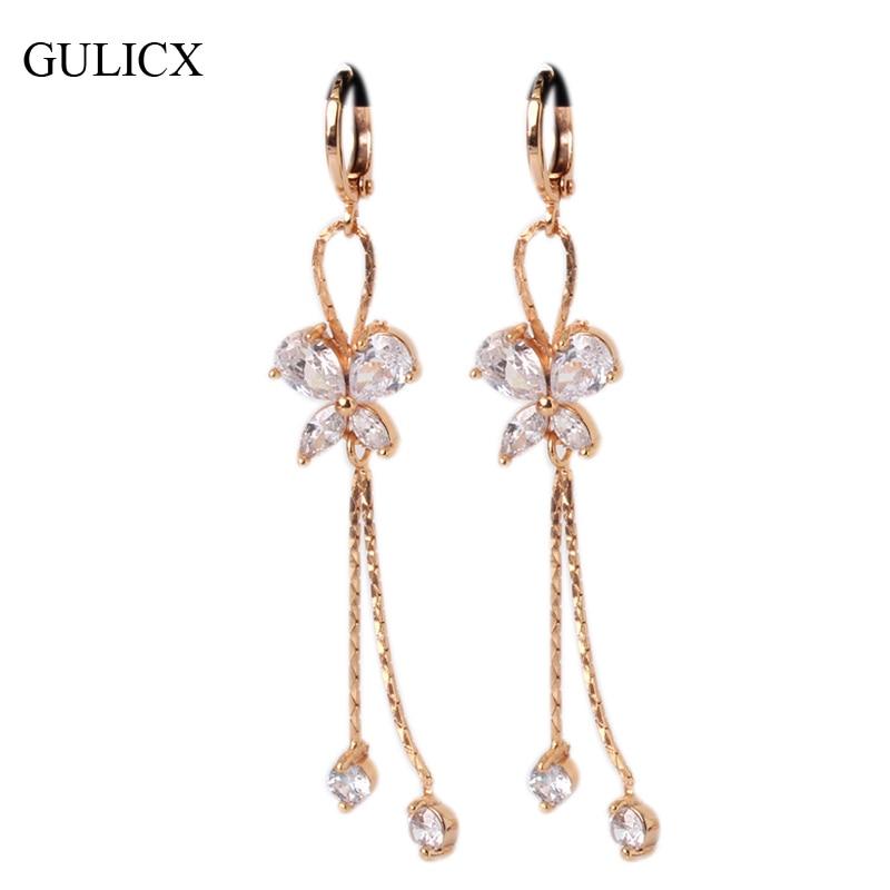 GULICX Moda Earing borla larga para las mujeres de color oro - Bisutería