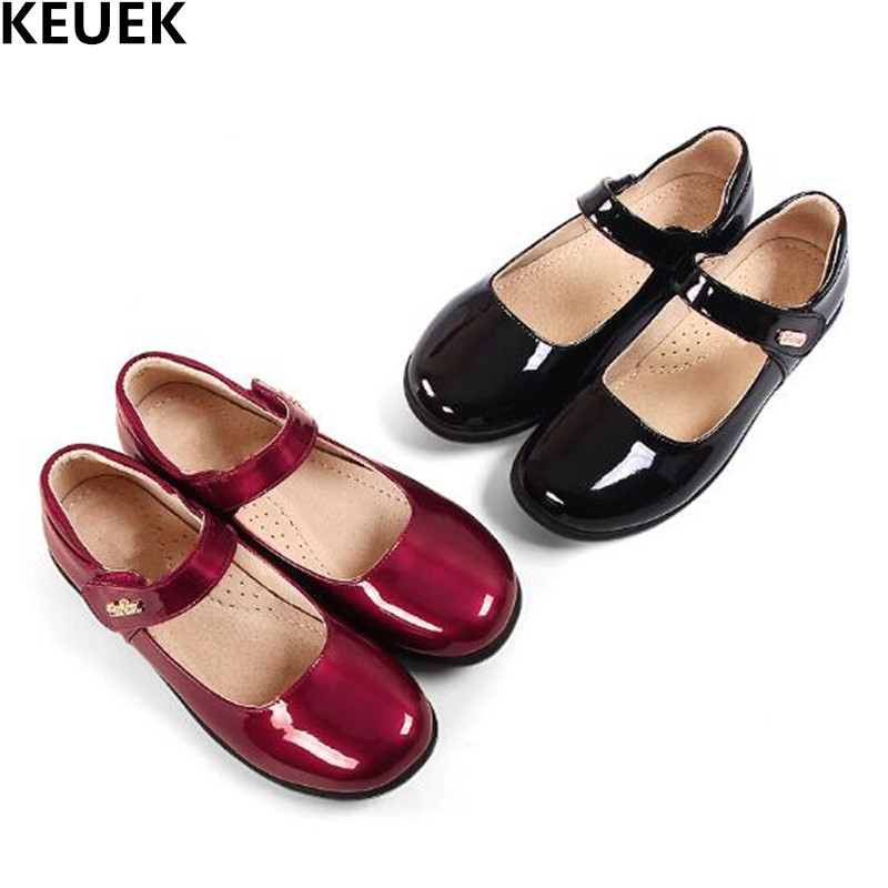 New Girls Leather Shoes Dress Black Shoes Princess Student Flats Breathable Spring/Autumn Party Dance Kids Boat Shoes Child 019