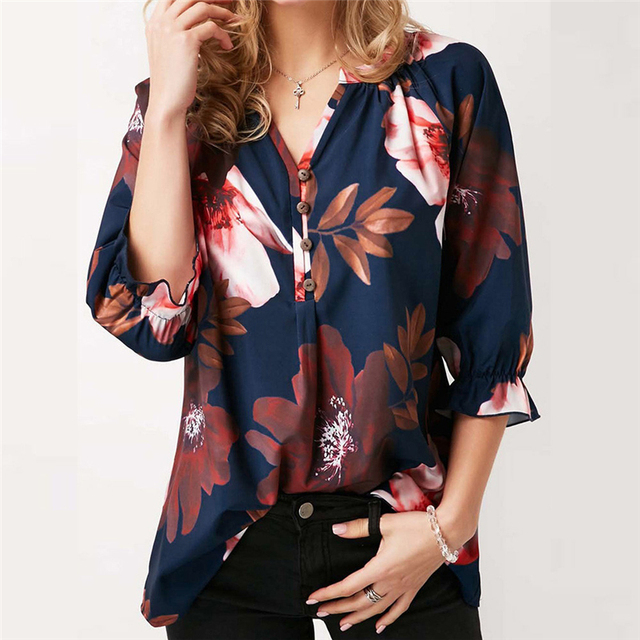 bce2f37542e606 Retro Women Plus size Chiffon Tops shirt Long Tops Vintage Floral Printed  Blouse Shirt womens tops