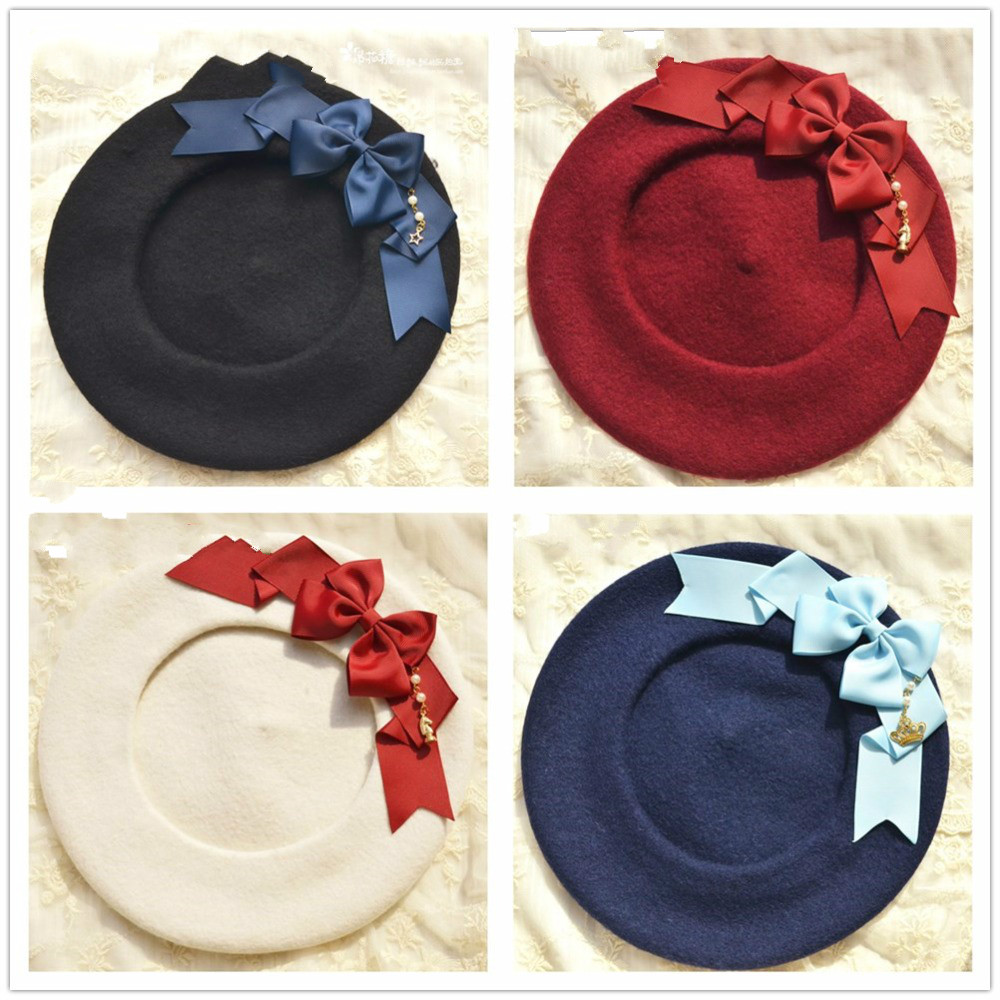 Princess sweet lolita beret Free color double bow + multi-color ribbon pie +bud cap cap ray limpets Clay oven rolls MHT001-1(China)