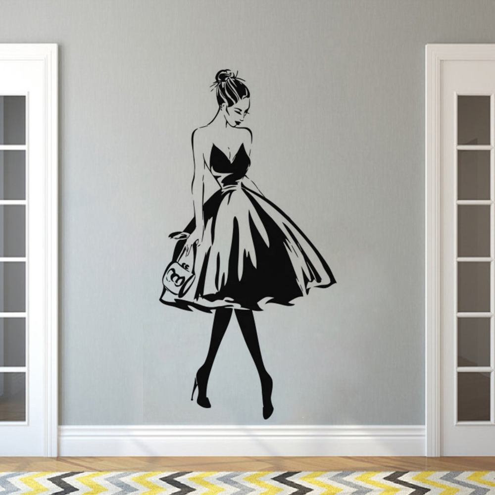 Wall Decal Woman Face Fashion Style Vinyl Wall Sticker