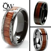 Queenwish 8mm Black Slivering Tungsten Carbide Ring Koa Wood Inlay Dome Matching Wedding Bands Anniversary Men