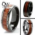 Queenwish 8mm Black Slivering Tungsten carbide Ring Koa Wood Inlay Dome Matching Wedding Bands Anniversary Men's jewelry