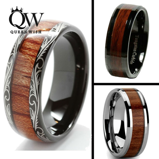 Queenwish 8mm Black Slivering Tungsten Carbide Ring Koa Wood Inlay Dome Matching Wedding Bands Anniversary Mens