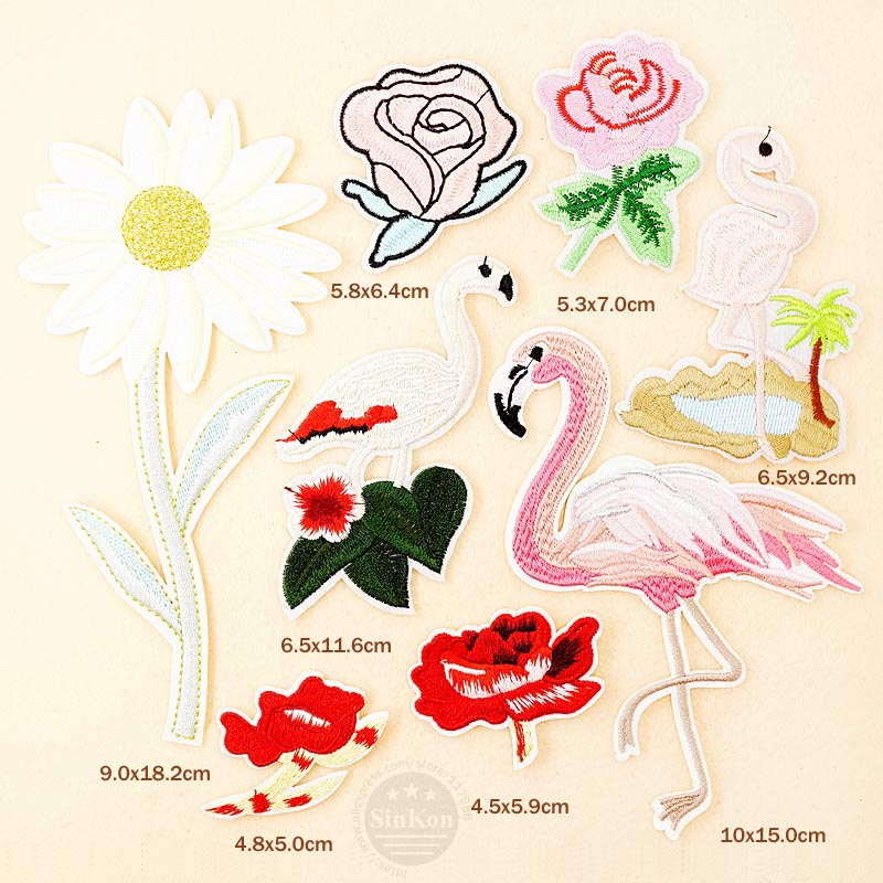 FLOWER Flamingo Pink Roses Patches Badges Embroidery DIY Cloth Patch Badge Applique Clothes Clothing Sewing Supplies Decorative