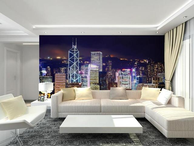 Hong Kong Woonkamer : Custom muurschildering hongkong night scene d slaapkamer
