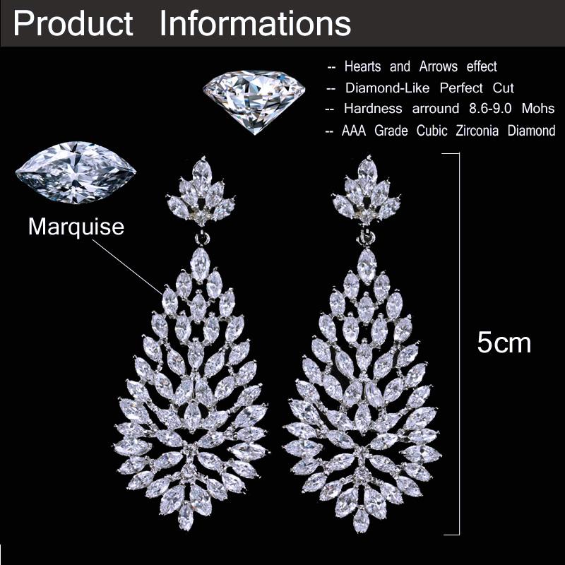 Cwwzircons High Quality Cubic Zirconia Stones Jewelry Silver Color 5cm Long Blooming Cz Earrings For Women Cz311 In Drop From