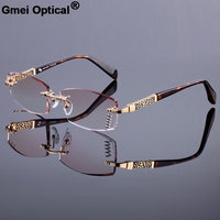 New Luxury Men Style Frame Women Titanium Alloy Optical Frame Diamond Trimming Cut Rimless Spectacles With