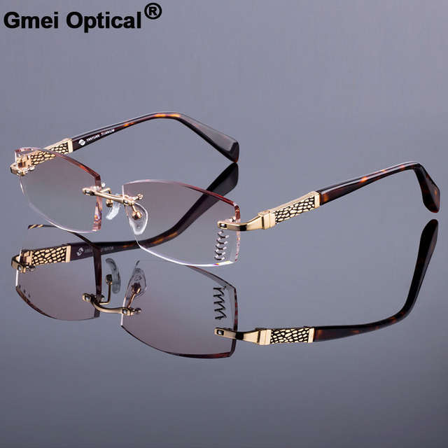 cf1ccc385a7 New Luxury Men Style Frame Women Titanium Alloy Optical Frame Diamond  Trimming Cut Rimless Spectacles With Gradient Tint Lenses-in Eyewear Frames  from ...