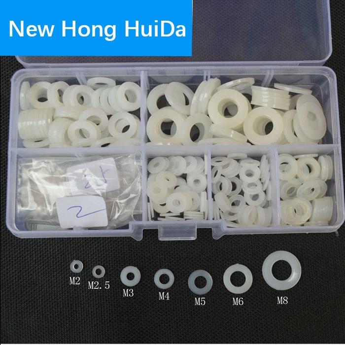 White Nylon Flat Round Washer Insulation Plastic Seals Spacer Gasket Ring M2 M2.5 M3 M4 M5 M6 M8 Assortment Kit Set Box 350pcs