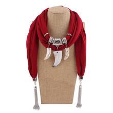 Fashion Stone Scarf Necklace Scarves Women Necklace Scarf Lady Tassel Warm bohemian jewelry autumn spike tassel scarf necklace pendants scarves autumn women necklace scarf charm bohemian jewelry gift