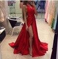 Vestidos de fiesta 2017 red prom dress com fenda a line decote em v varrer train longa noite formal party dress