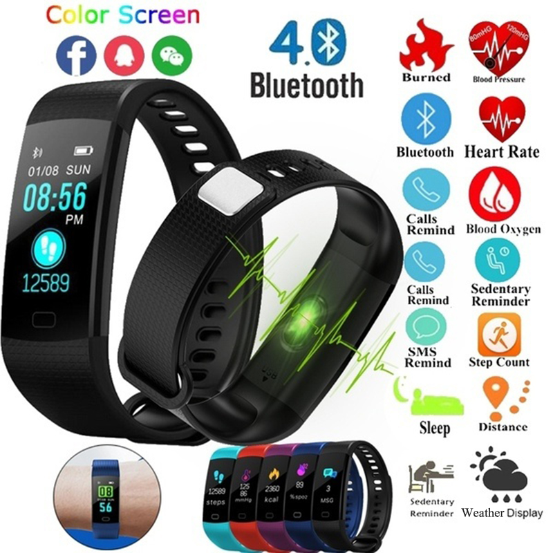 Smart Bracelet Fitness Tracker Color Display Smart Wristband Y5 Smartband IP67 Blood Pressure Monitor Pedometer Sport