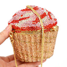 Designer Brand Luxury Crystal Evening Bag Fashion Cupcake Diamond Clutch Soiree Purse Women Wedding Bride Cake
