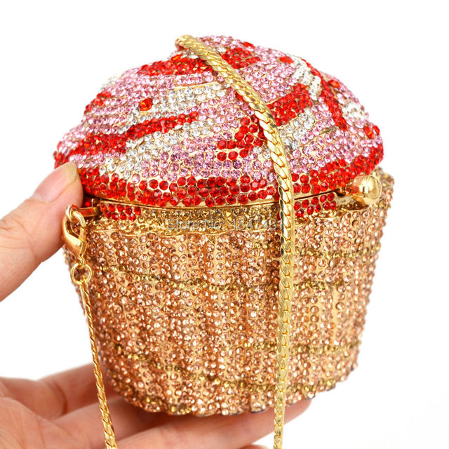 Designer Brand Luxury Crystal Evening Bag Fashion Cupcake Diamond Clutch Soiree Purse Women Wedding Bride Cake Handbags  SC518