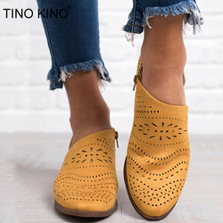 Women Hollow Out Summer Spring Gladiator Low Heels Shoes Female Flock Zip Thick Heel Pumps Ladies Casual Fashion Plus Size