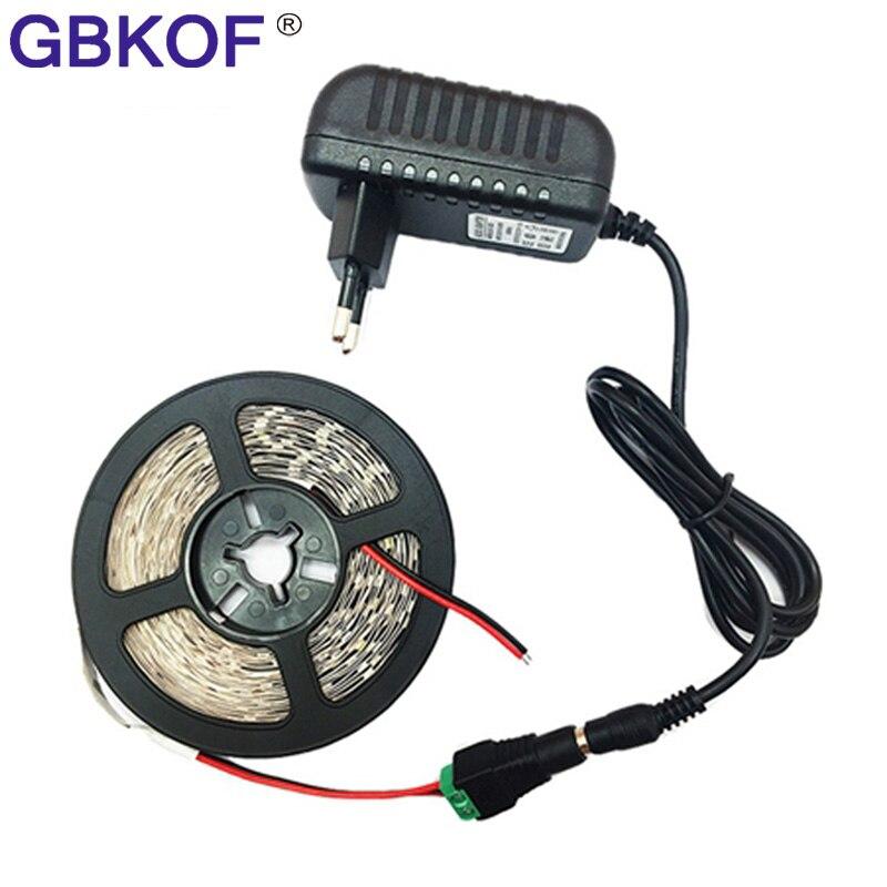Non waterproof 5050 3528 2835 LED strip light ribbon 5M 300 LEDs White/ /Warm White LED tape DC 12V LED trias+adapter ledstripe