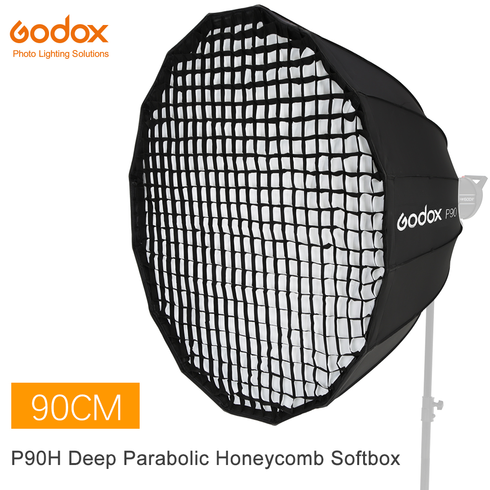 Godox Portable P90H 90CM Deep Parabolic Honeycomb Grid Softbox Bowens Mount Studio Flash Reflector Photo Studio