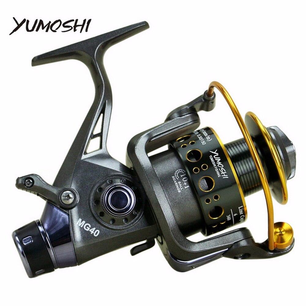 Yumoshi 3000-6000 Metall Spinning Angeln Reel 10 + 1BB Saltewater Karpfen Angeln Reel Vorderen und hinteren brems Geschwindigkeit verhältnis 5,0: 1 5,2: 1