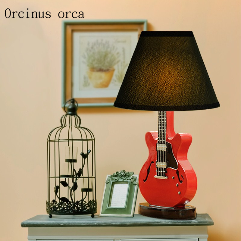 Cartoon creative guitar table lamp children bedroom boy bedroom lamp American modern simple red LED desk lamp free shipping