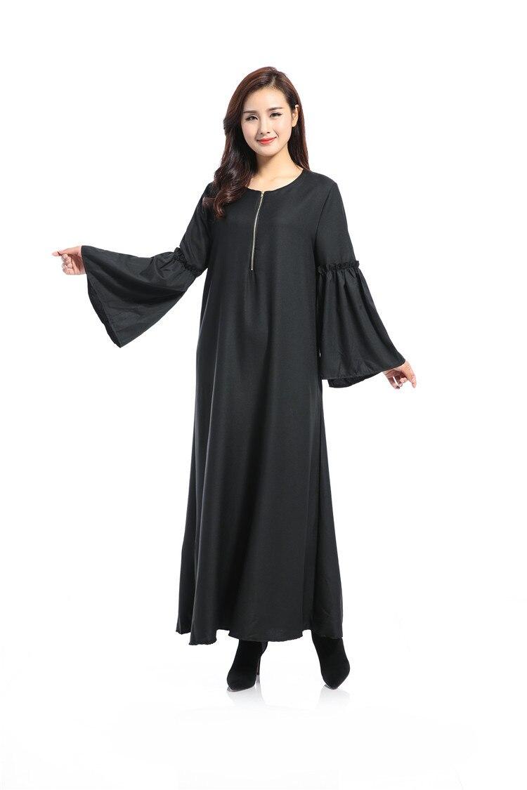 Les nouvelles caractéristiques de robe musulmane à manches longues des robes lâches arabes couleur Pure lumière du soleil chanvre dimanche vêtements - 6