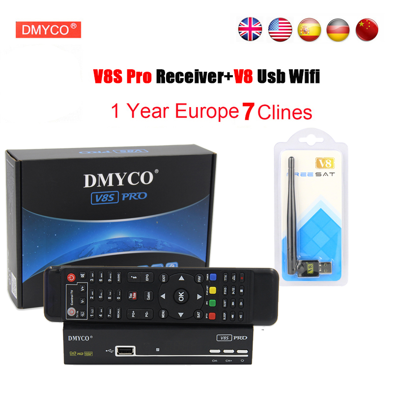 DMYCO V8S PRO Satellite Receiver DVB-S2 Full HD 1080P V8S-PRO receptor decoder+fast free one year 7 clines server+1 pc usb wifi