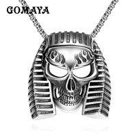 GOMAYA Stainless Steel Mens Pendant Necklace Ai Cập Pharaoh Đầu Sọ Skeleton Mát Thời Trang Sức Vintage Cổ Điển Collier
