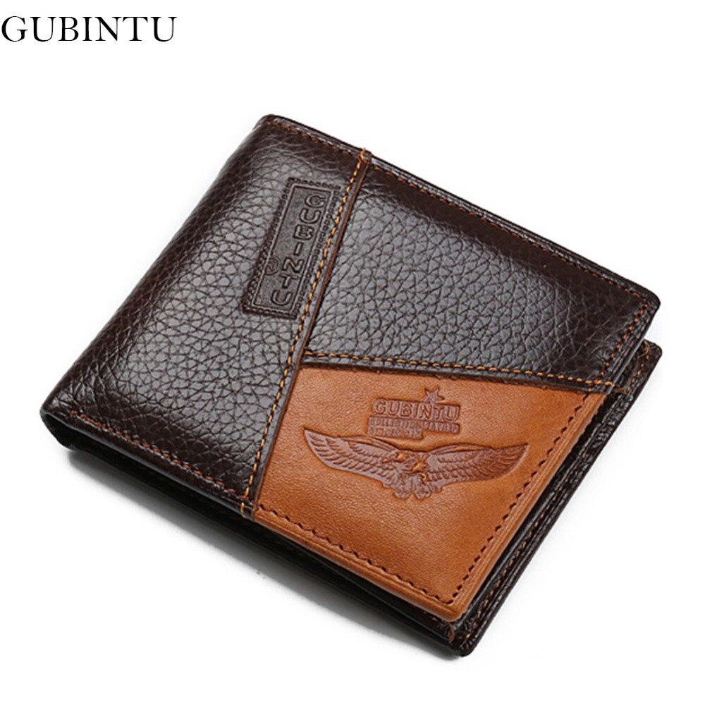 GUBINTU Натуральна шкіра чоловіків гаманець бренд дизайнер чоловічого гаманець з блискавкою монета кишеню кращий подарунок carteira masculina - BID086 PM49  t